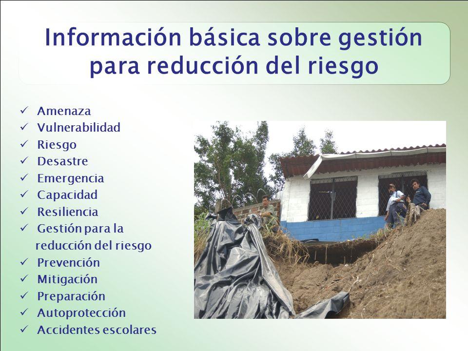 Información básica sobre gestión para reducción del riesgo