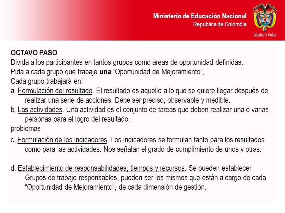 OCTAVO PASO Divida a los participantes en tantos grupos como áreas de oportunidad definidas.