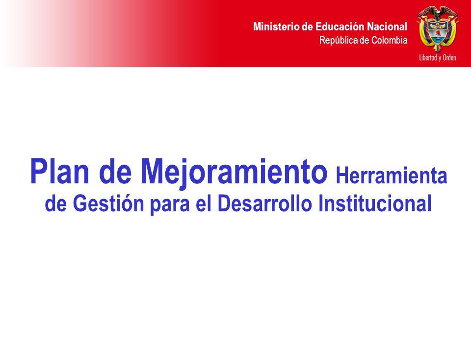 Plan de Mejoramiento Herramienta de Gestión para el Desarrollo Institucional