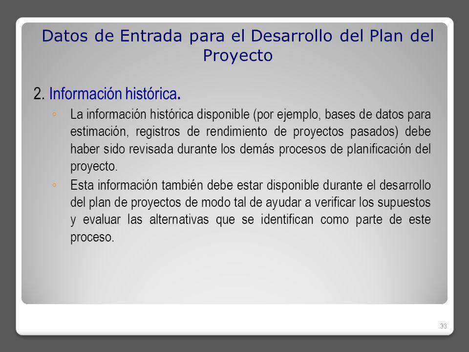 Datos de Entrada para el Desarrollo del Plan del Proyecto