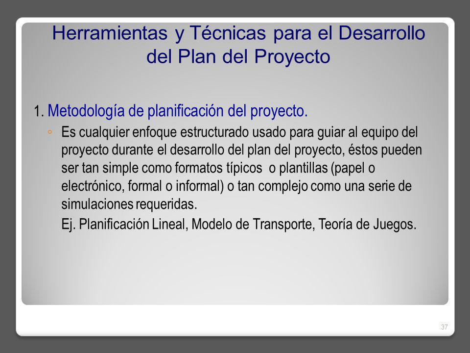 Herramientas y Técnicas para el Desarrollo del Plan del Proyecto