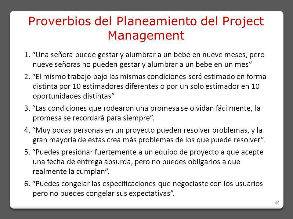 Proverbios del Planeamiento del Project Management
