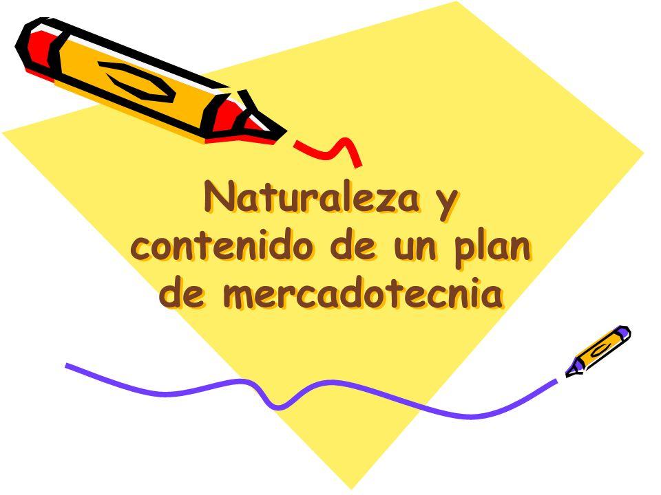 Naturaleza y contenido de un plan de mercadotecnia