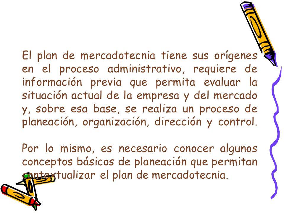El plan de mercadotecnia tiene sus orígenes en el proceso administrativo, requiere de información previa que permita evaluar la situación actual de la empresa y del mercado y, sobre esa base, se realiza un proceso de planeación, organización, dirección y control.
