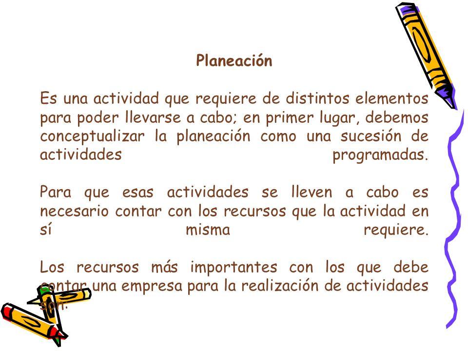 Planeación Es una actividad que requiere de distintos elementos para poder llevarse a cabo; en primer lugar, debemos conceptualizar la planeación como una sucesión de actividades programadas.