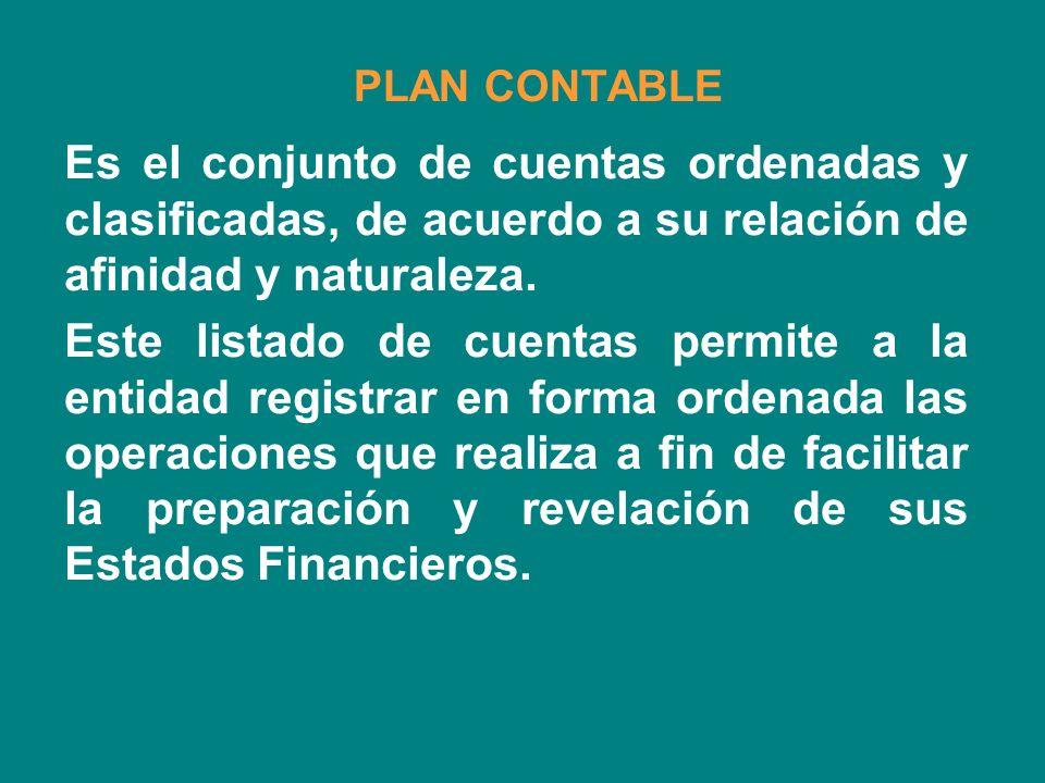 PLAN CONTABLE Es el conjunto de cuentas ordenadas y clasificadas, de acuerdo a su relación de afinidad y naturaleza.