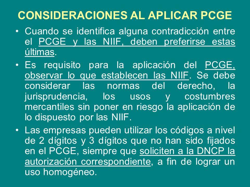 CONSIDERACIONES AL APLICAR PCGE