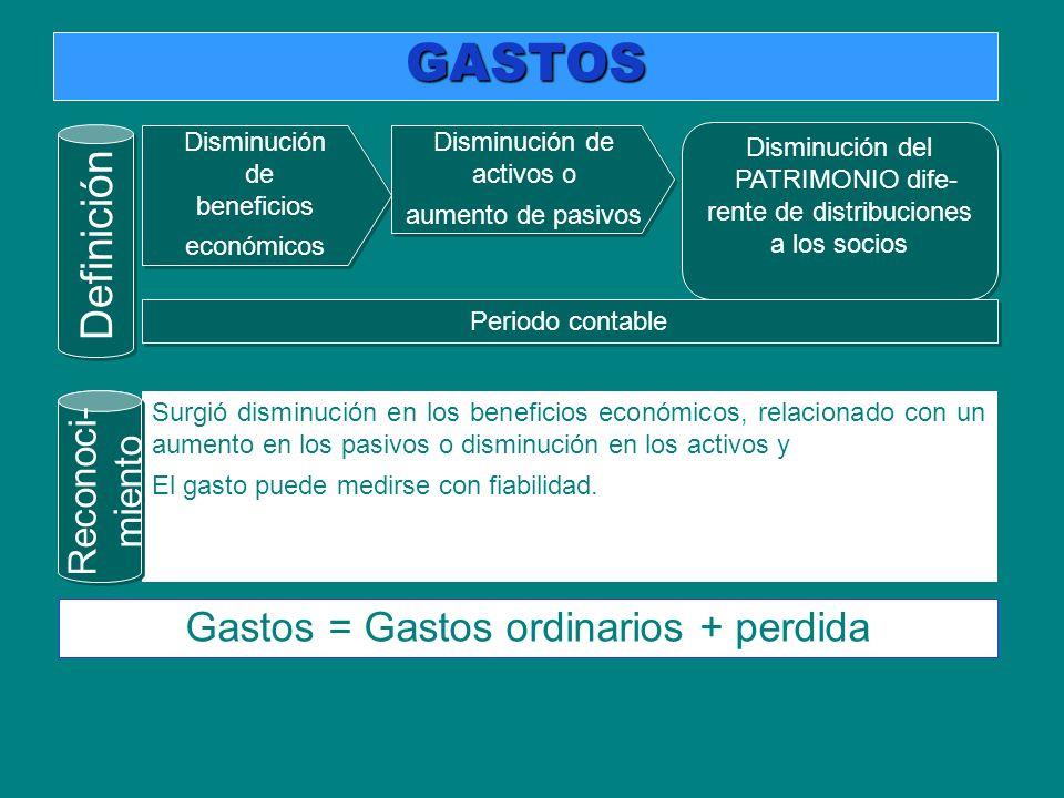 GASTOS Definición Gastos = Gastos ordinarios + perdida Reconoci-
