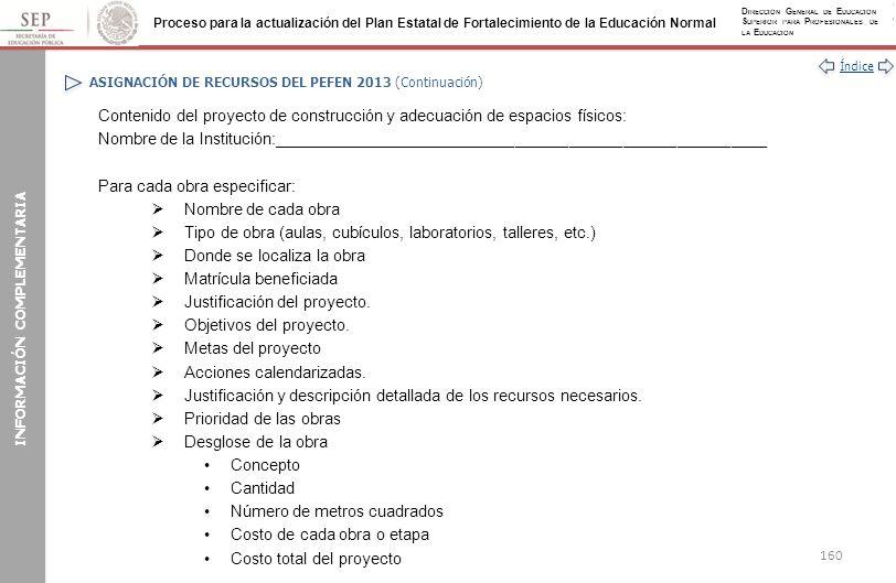 ASIGNACIÓN DE RECURSOS DEL PEFEN 2013 (Continuación)