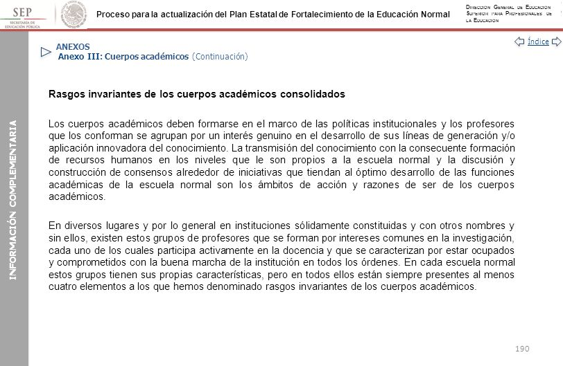 ANEXOS Anexo III: Cuerpos académicos (Continuación)