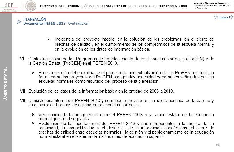 PLANEACIÓN Documento PEFEN 2013 (Continuación)