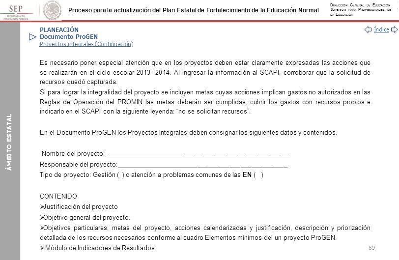 PLANEACIÓN Documento ProGEN Proyectos integrales (Continuación)
