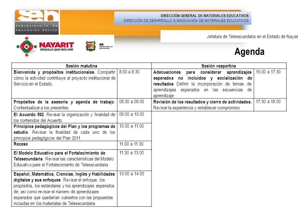 Agenda Jefatura de Telesecundaria en el Estado de Nayarit