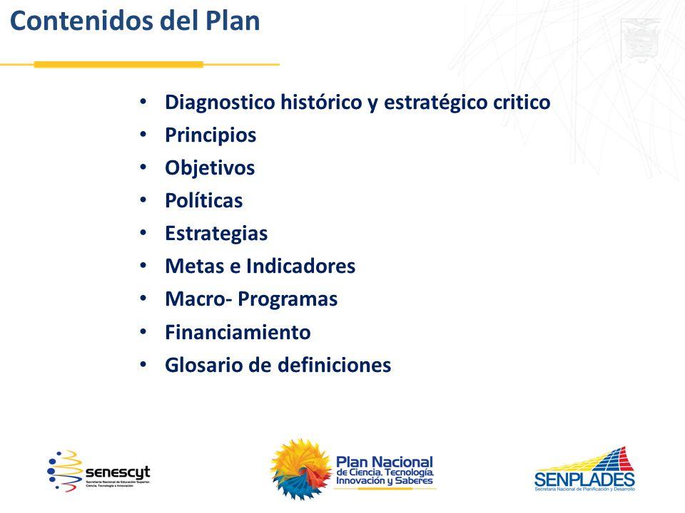 Contenidos del Plan Diagnostico histórico y estratégico critico
