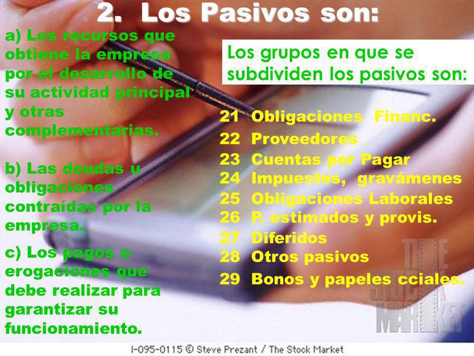2. Los Pasivos son: Los grupos en que se subdividen los pasivos son: