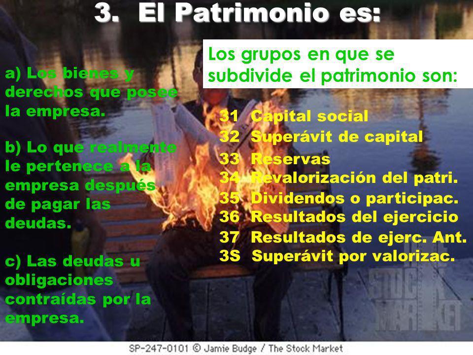 3. El Patrimonio es: Los grupos en que se subdivide el patrimonio son: