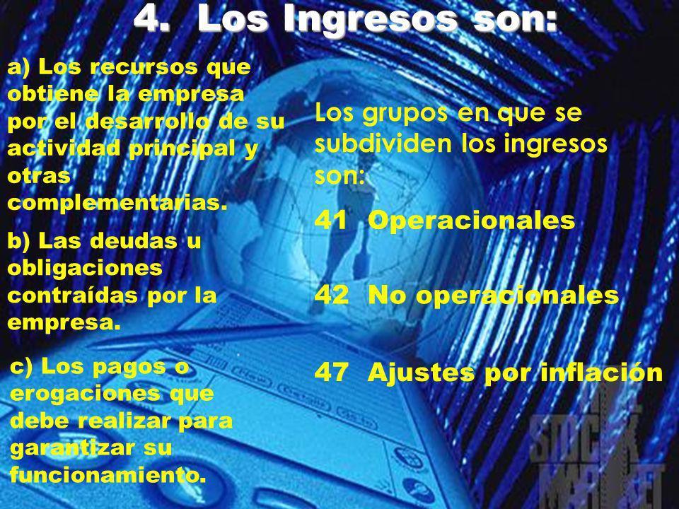 4. Los Ingresos son: Los grupos en que se subdividen los ingresos son: