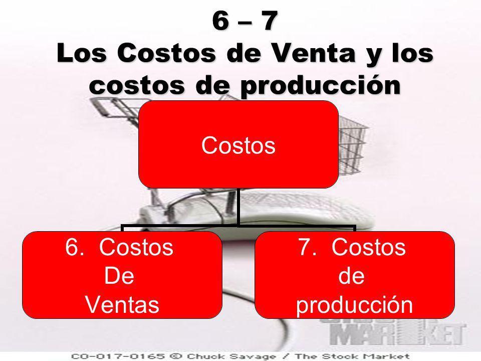 6 – 7 Los Costos de Venta y los costos de producción