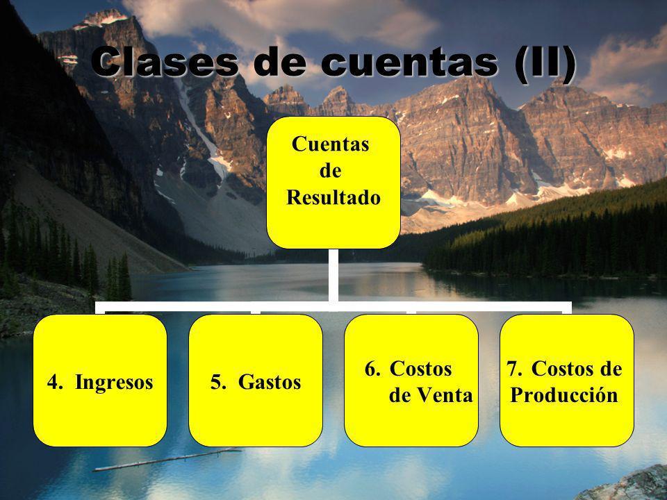 Clases de cuentas (II)