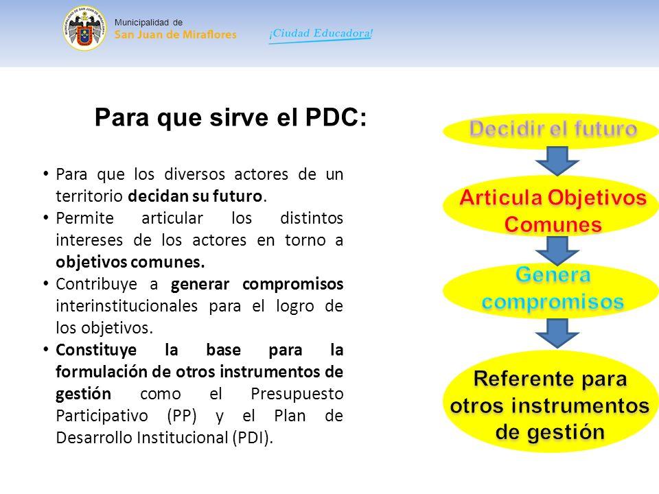 Para que sirve el PDC: Decidir el futuro Articula Objetivos Comunes
