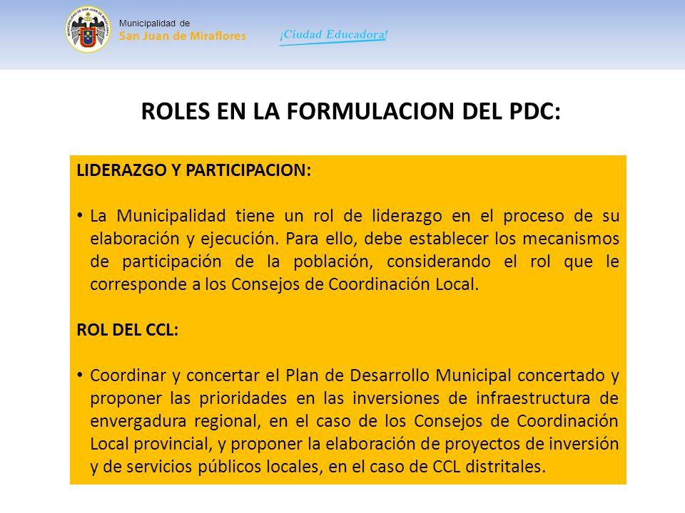 ROLES EN LA FORMULACION DEL PDC: