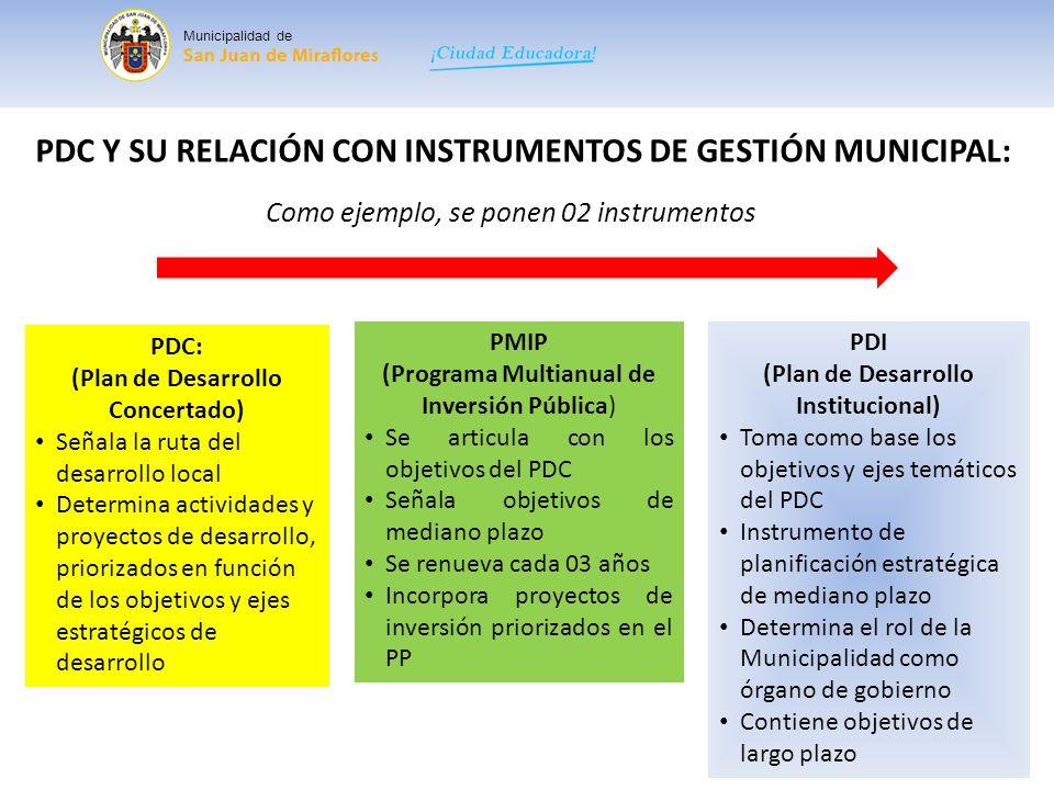 PDC Y SU RELACIÓN CON INSTRUMENTOS DE GESTIÓN MUNICIPAL:
