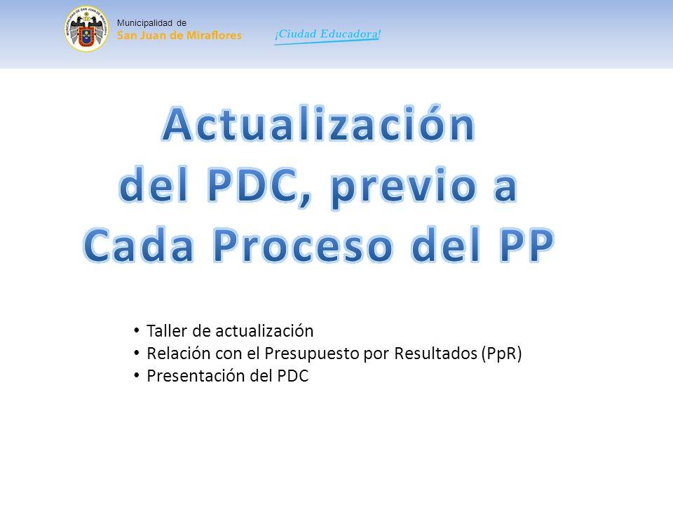 Actualización del PDC, previo a Cada Proceso del PP