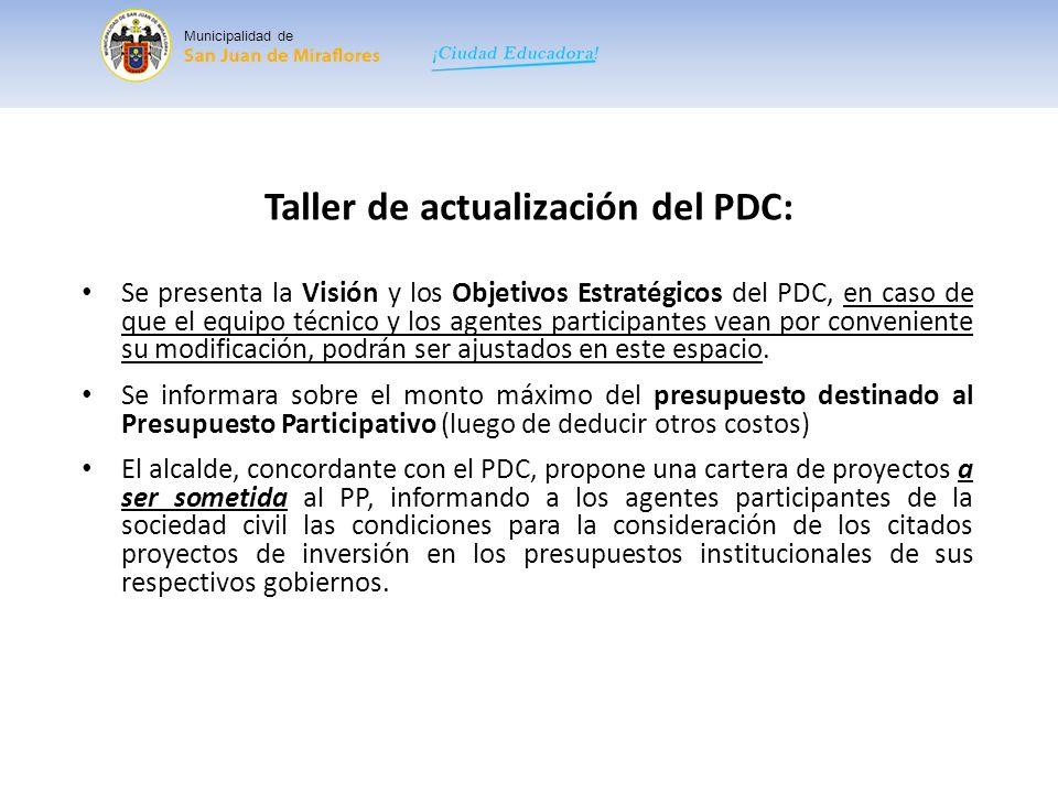 Taller de actualización del PDC: