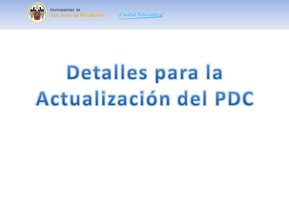 Detalles para la Actualización del PDC