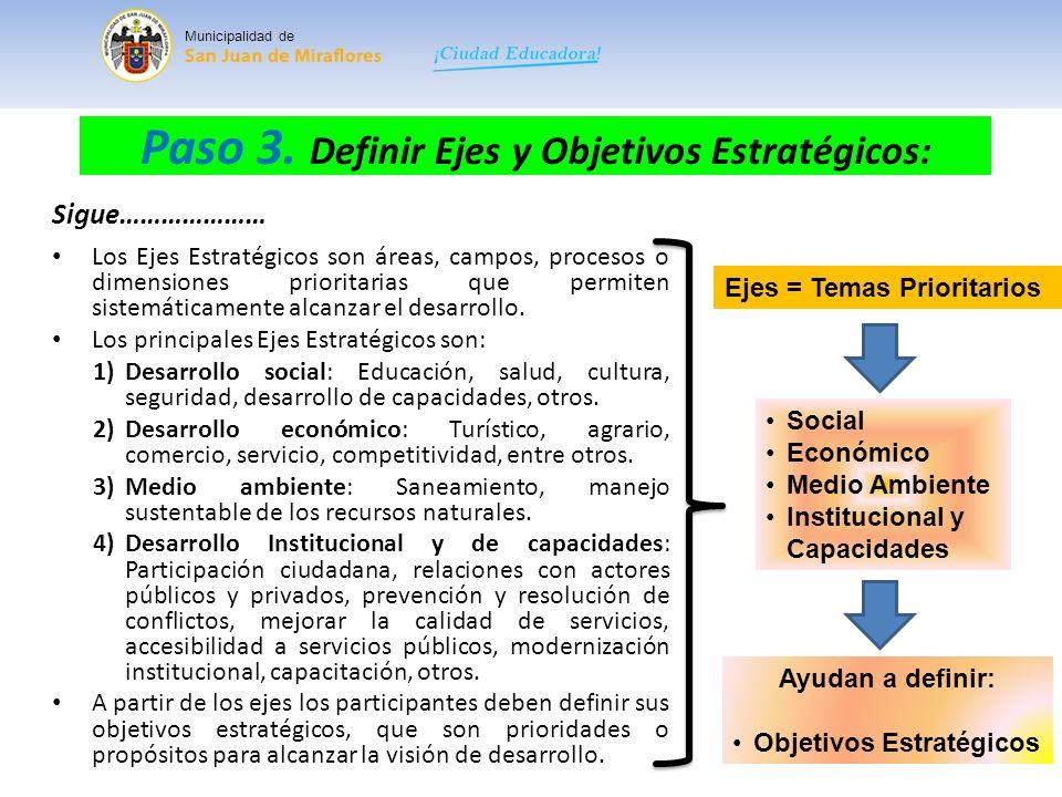 Paso 3. Definir Ejes y Objetivos Estratégicos: