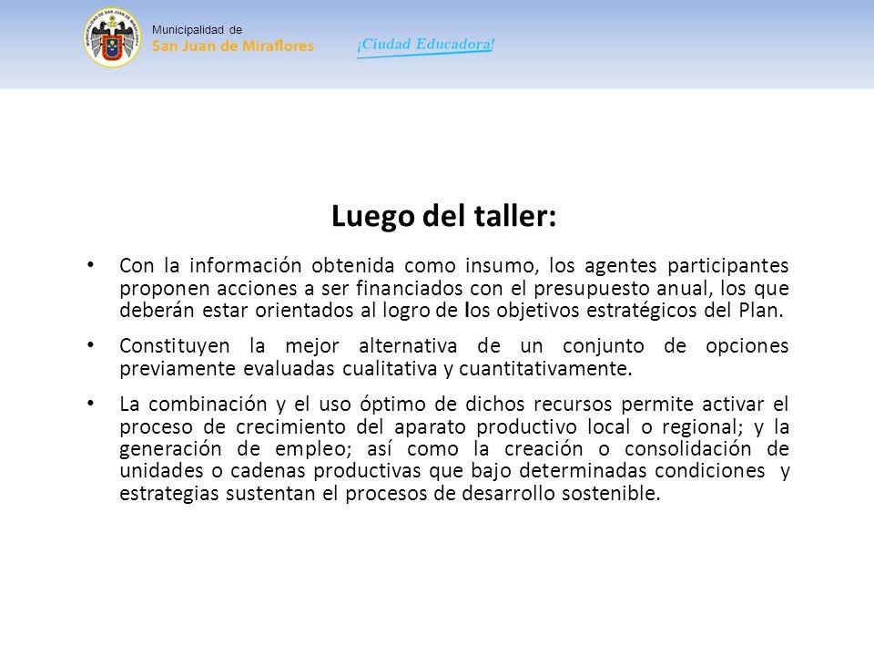 Municipalidad de Luego del taller: