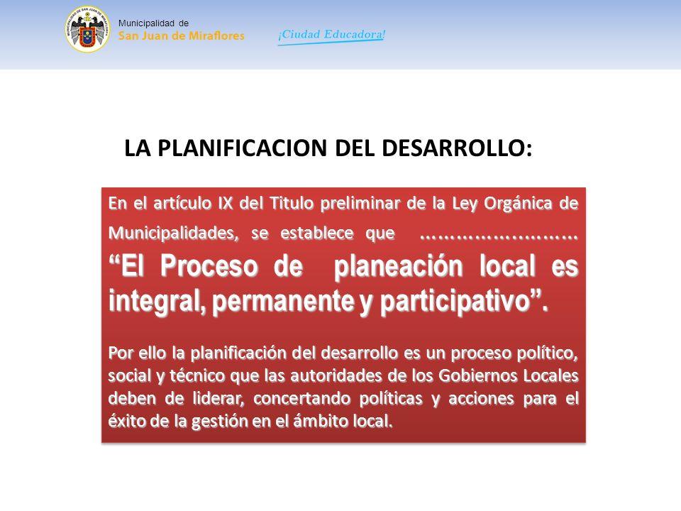 LA PLANIFICACION DEL DESARROLLO:
