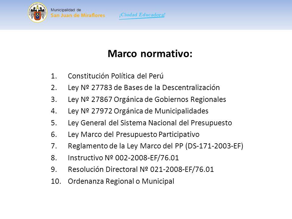 Marco normativo: Constitución Política del Perú