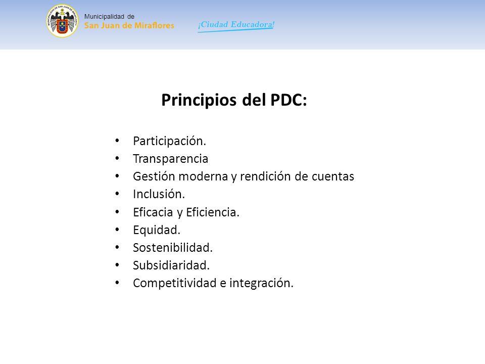 Principios del PDC: Participación. Transparencia