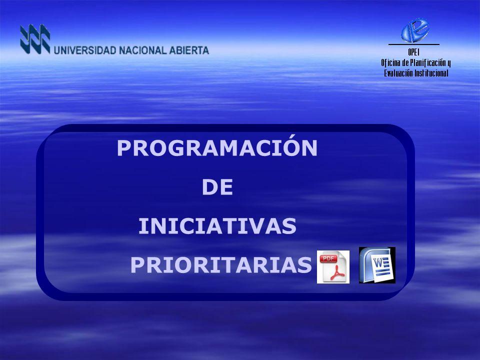 PROGRAMACIÓN DE INICIATIVAS PRIORITARIAS