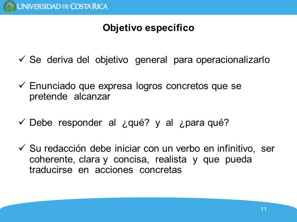 Objetivo específicoSe deriva del objetivo general para operacionalizarlo. Enunciado que expresa logros concretos que se pretende alcanzar.