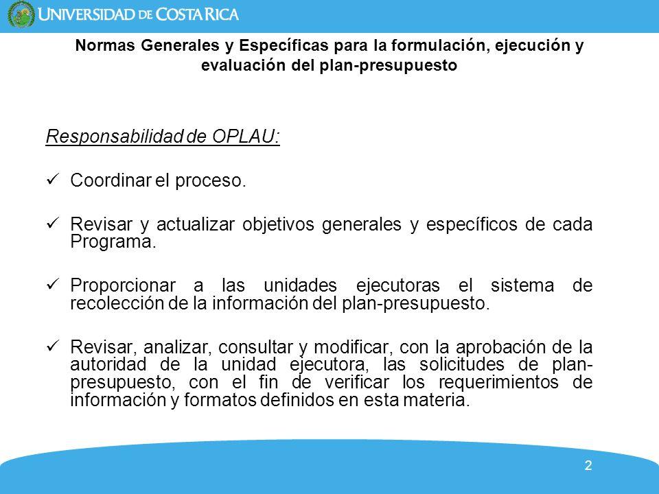 Responsabilidad de OPLAU: Coordinar el proceso.