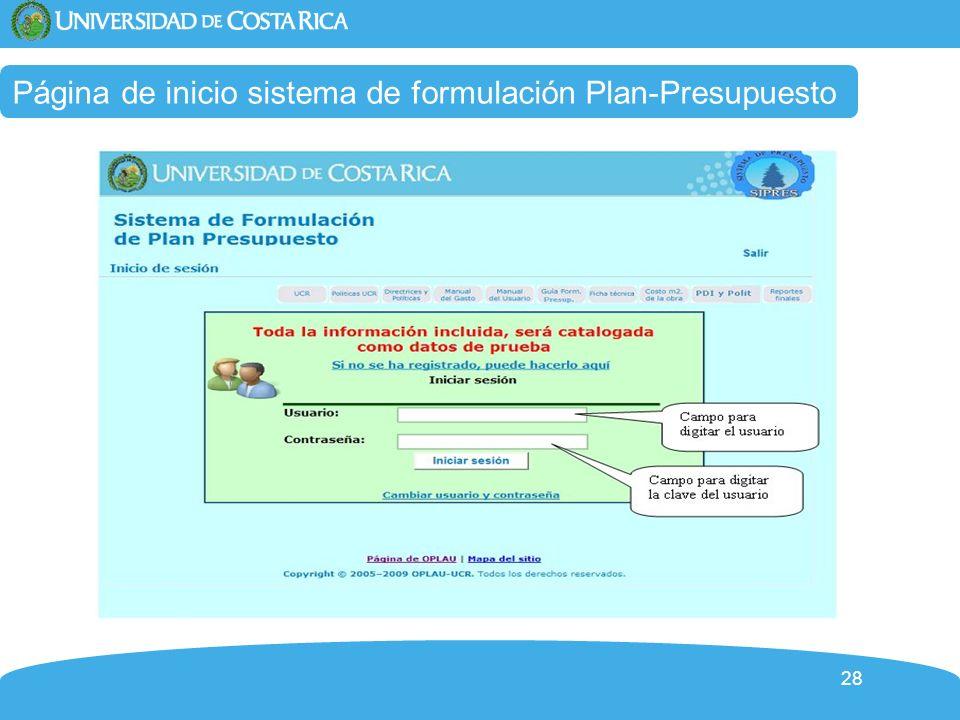 Página de inicio sistema de formulación Plan-Presupuesto