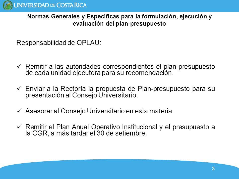 Responsabilidad de OPLAU: