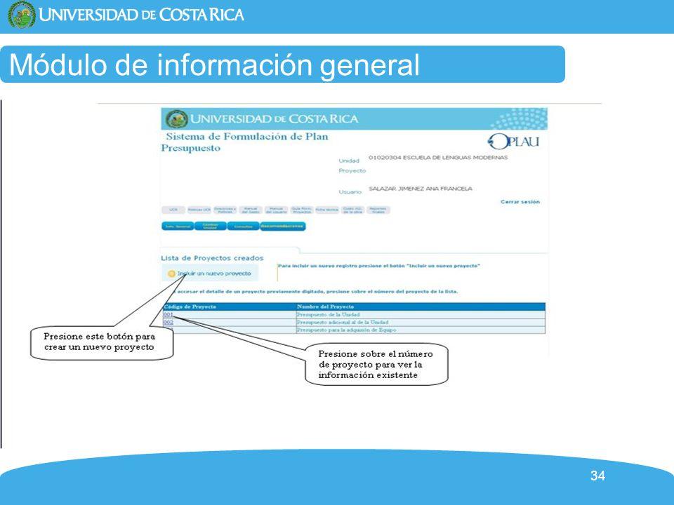 Módulo de información general