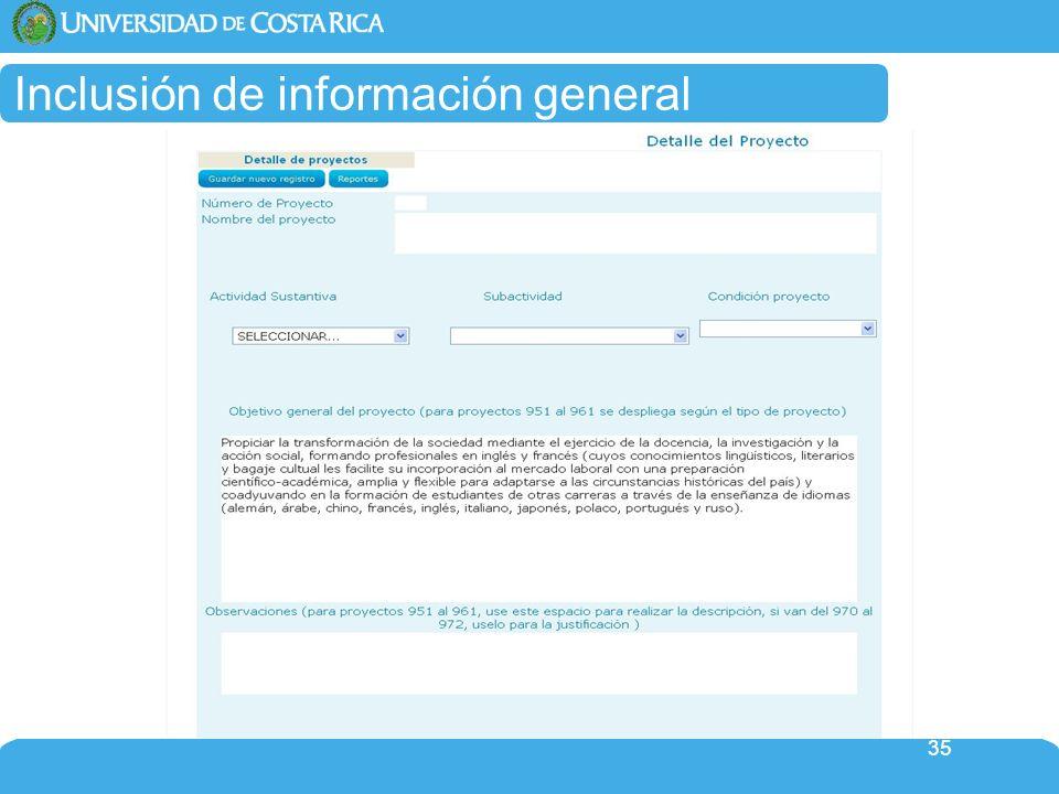 Inclusión de información general