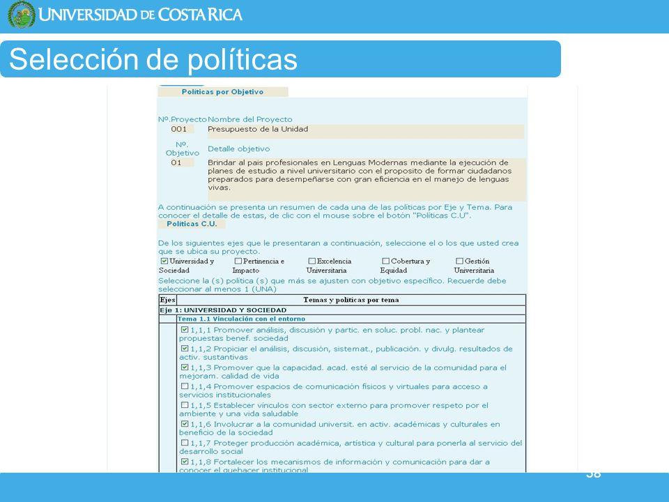 Selección de políticas