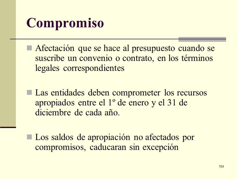 Compromiso Afectación que se hace al presupuesto cuando se suscribe un convenio o contrato, en los términos legales correspondientes.