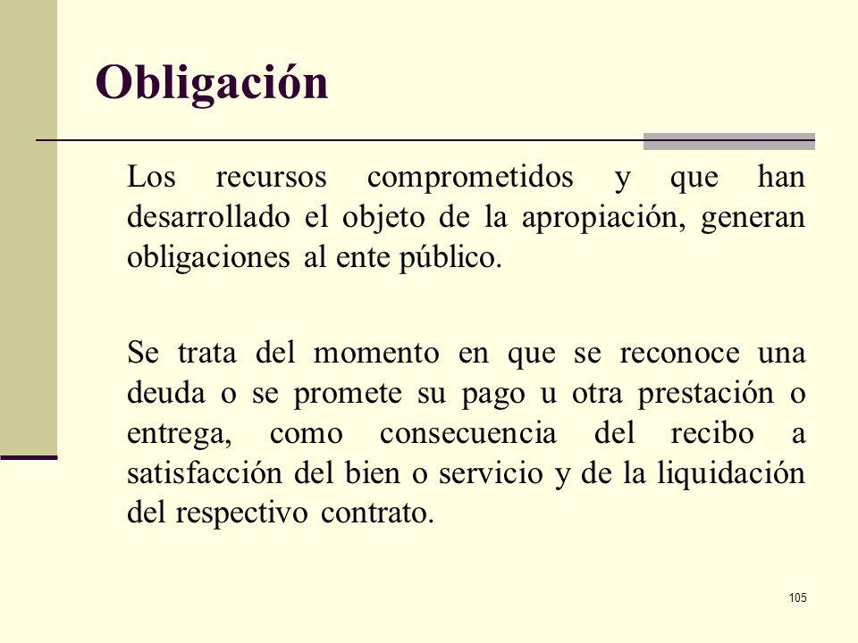 Obligación Los recursos comprometidos y que han desarrollado el objeto de la apropiación, generan obligaciones al ente público.