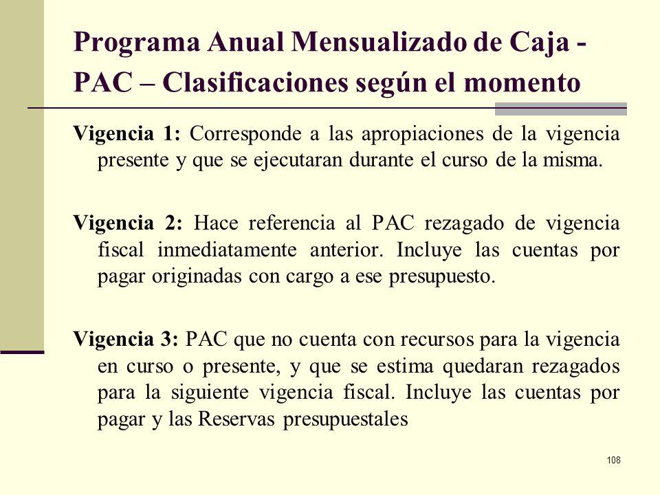 Programa Anual Mensualizado de Caja - PAC – Clasificaciones según el momento
