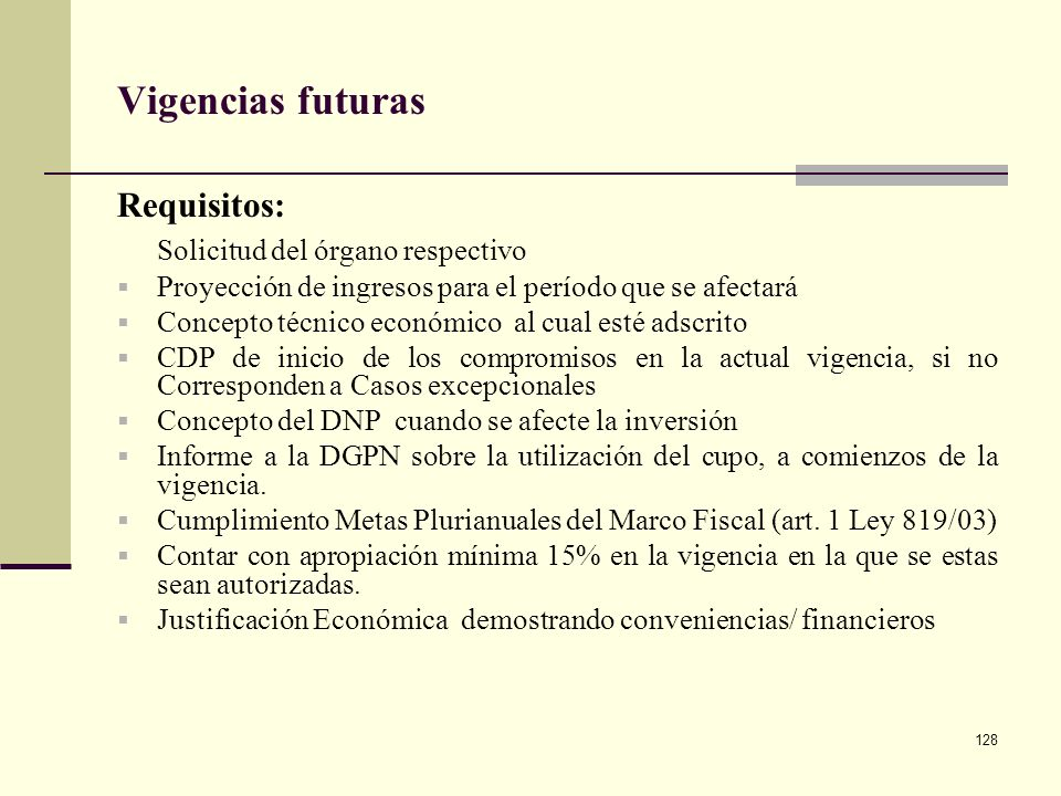 Vigencias futuras Requisitos: Solicitud del órgano respectivo