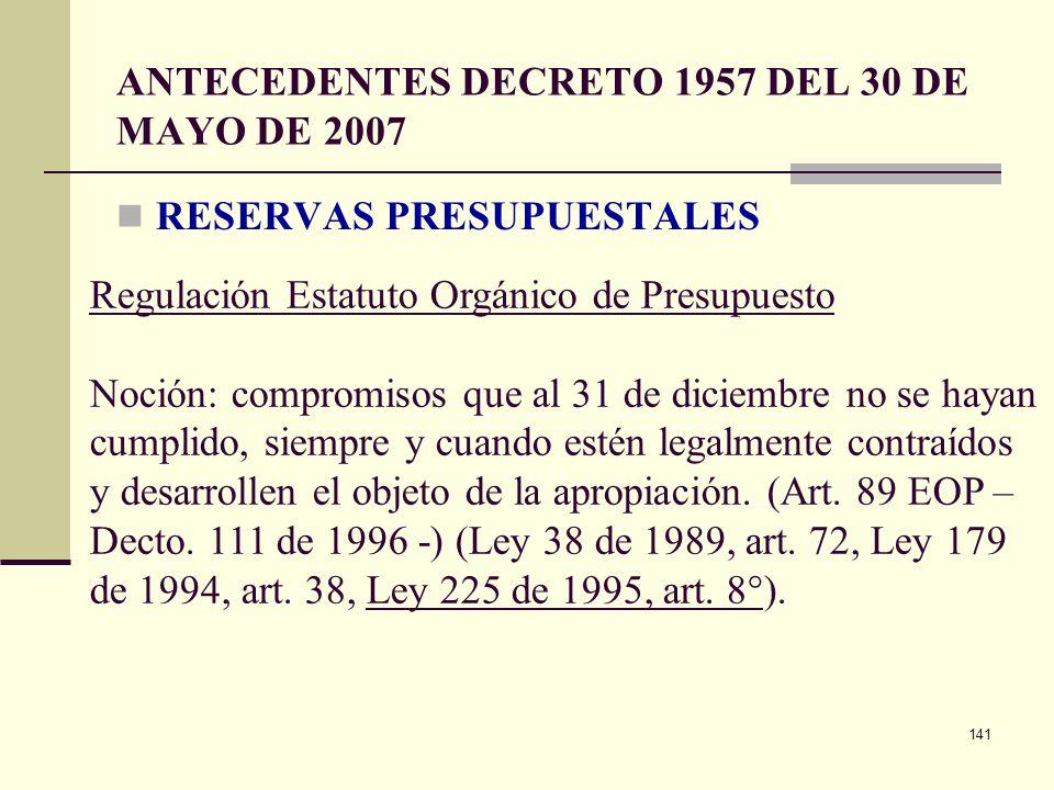 ANTECEDENTES DECRETO 1957 DEL 30 DE MAYO DE 2007