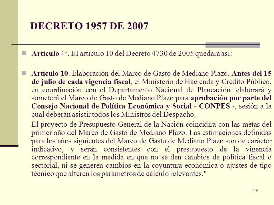 DECRETO 1957 DE 2007 Artículo 4°. EI artículo 10 del Decreto 4730 de 2005 quedará así: