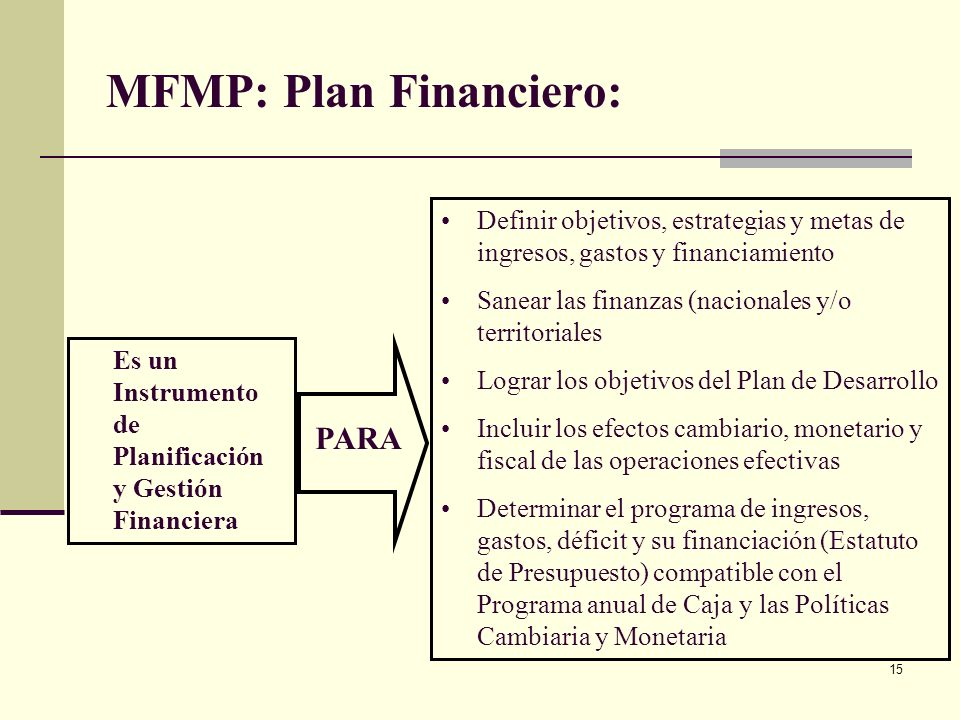 MFMP: Plan Financiero: