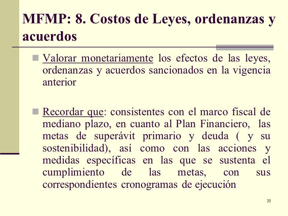 MFMP: 8. Costos de Leyes, ordenanzas y acuerdos